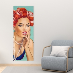 Canvas 16 x 48 - Pin up girl with curlers