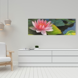 Canvas 16 x 48 - Water lilies and lotus flowers