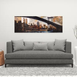 Canvas 16 x 48 - Bridge in the city at sunset