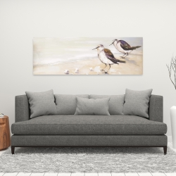 Canvas 16 x 48 - Two sandpipers on the beach