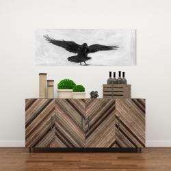 Canvas 16 x 48 - Crow in flight