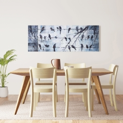 Canvas 16 x 48 - Abstract birds on electric wire