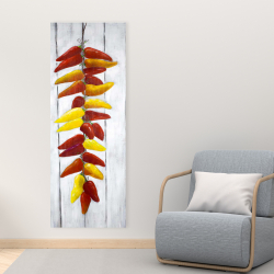 Canvas 16 x 48 - Rope of peppers with wood background