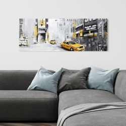 Canvas 16 x 48 - New york city with taxis