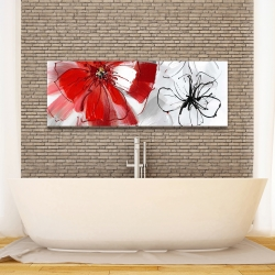 Canvas 16 x 48 - Red & gray flowers