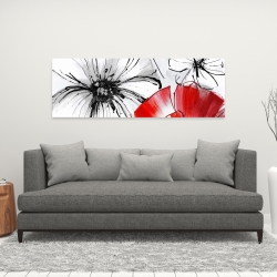 Canvas 16 x 48 - Red & white flowers sketch