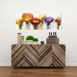 Canvas 16 x 48 - Multiple colorful abstract flowers