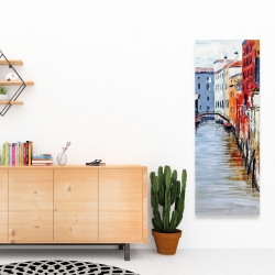 Canvas 16 x 48 - Colorful and texturized city on the water