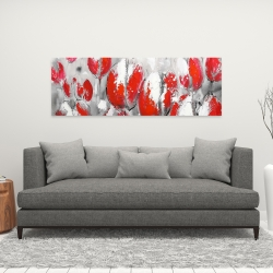 Canvas 16 x 48 - Abstract red tulips