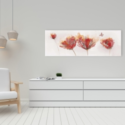 Canvas 16 x 48 - Crimson flowers and butterfly