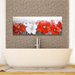 Canvas 16 x 48 - Gray field with red flowers
