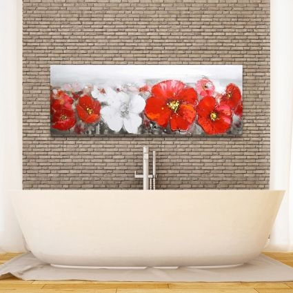 Gray field with red flowers