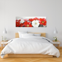 Canvas 16 x 48 - Red and white flowers field