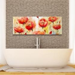 Canvas 16 x 48 - Red flowers garden