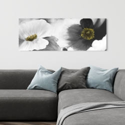Canvas 16 x 48 - Black and white flowers