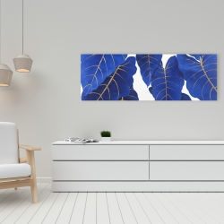 Canvas 16 x 48 - Tropical abstract blue leaves