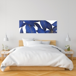 Canvas 16 x 48 - Abstract modern blue leaves