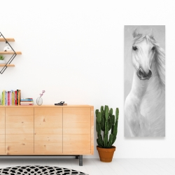 Canvas 16 x 48 - Monochrome mighty white horse