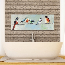 Canvas 16 x 48 - Small abstract colorful birds