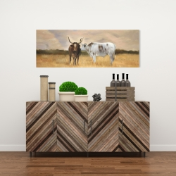 Canvas 16 x 48 - Two cows kissing by sunset