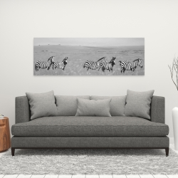 Canvas 16 x 48 - Zebras in the savannah