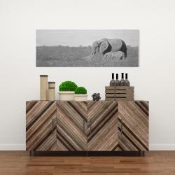 Canvas 16 x 48 - Elephants in the savannah