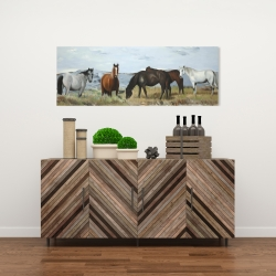Canvas 16 x 48 - Horses eating in the meadow