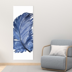 Canvas 16 x 48 - Watercolor blue feather