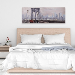 Canvas 16 x 48 - Brooklyn bridge with passersby