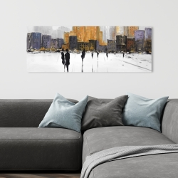 Canvas 16 x 48 - Silhouettes walking towards the city