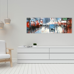 Canvas 16 x 48 - Abstract red and blue city