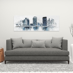 Canvas 16 x 48 - Texturized blue colors cityscape