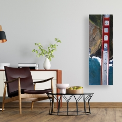 Canvas 16 x 48 - Overhead view of the golden gate and mountains