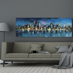 Canvas 20 x 60 - Abstract blue cityscape by night
