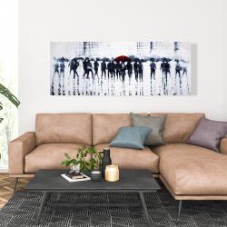 Canvas 20 x 60 - Silhouettes walking in the rain