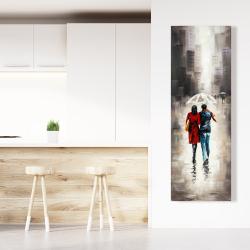 Canvas 20 x 60 - Quiet walk in couple in the rain