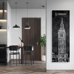 Canvas 20 x 60 - Big ben sketch with a map in background