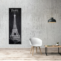 Canvas 20 x 60 - Eiffel tower sketch with a map in background