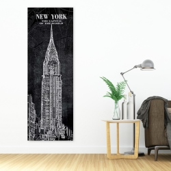 Canvas 20 x 60 - Chrystler tower sketch with a map in background