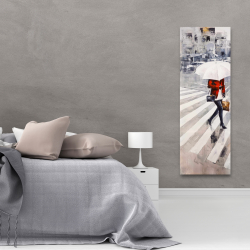 Canvas 20 x 60 - Woman walking with her umbrella