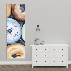 Canvas 20 x 60 - Watercolor doughtnuts with icing