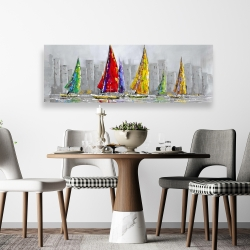 Canvas 20 x 60 - Sailboats in the wind