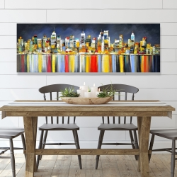 Canvas 20 x 60 - Colorful reflection of a cityscape by night