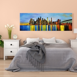 Canvas 20 x 60 - City by night with a bridge