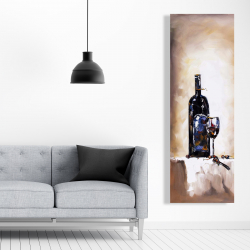 Canvas 20 x 60 - Bottle and a glass of red wine
