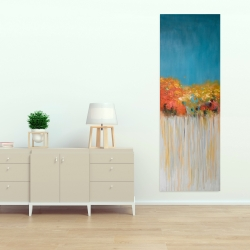 Canvas 20 x 60 - Colorful abstract flowers on a grey background