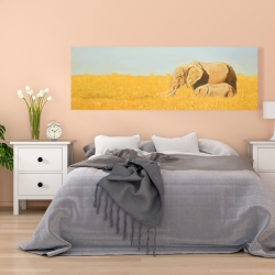 Canvas 20 x 60 - Elephant and its little one