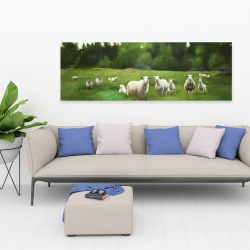Canvas 20 x 60 - Fields of sheep