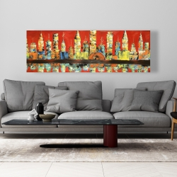Canvas 20 x 60 - Red abstract skyline