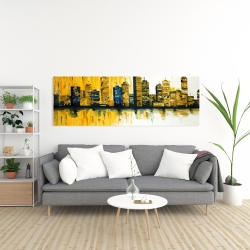 Canvas 20 x 60 - Yellow abstract skyscrapers